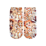 PLstar Cosmos Ahegao 3D Printed Face Red Woman cute cotton short ankle socks for Men Women harajuku Shy Girl Sexy socks  MartLion