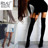 POLALI 2020 New Flock Leather Women Over The Knee Boots Lace Up Sexy High Heels Autumn Woman Shoes Winter Women Boots Size 34-43  MartLion