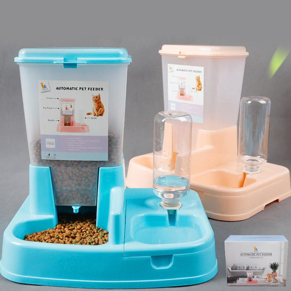 Pet Dog Automatic Cat Dog Feeder Automatic Drinking Water Dog Bowl Cat Bowl Pot Water Power Feeding Bowl Combination Pet Supply  MartLion.com