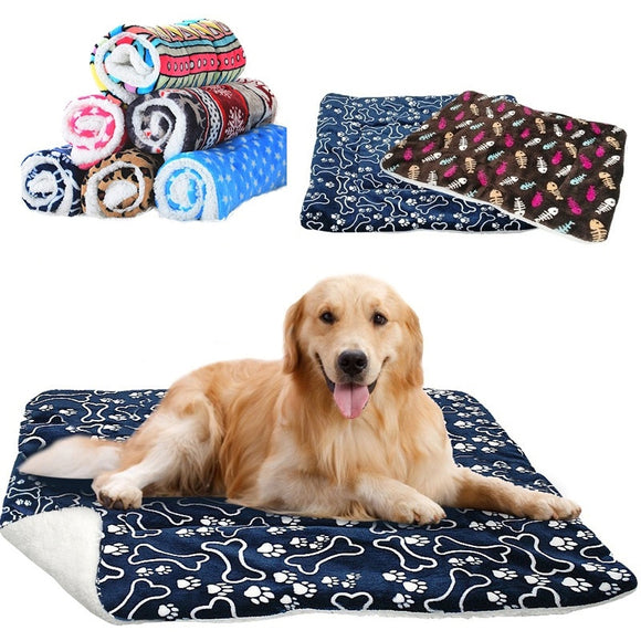 Pet Large Dog Blanket Winter Pet Bed Mat Paw Print Puppy House for Cat Fleece Lounger Dogs Cushion Cats Pad Chihuahua Products  MartLion.com
