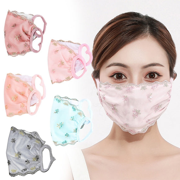 Pink Lace Mask Women Fashion Washable Breathable Face Cap Protec Маски decoration Mascaras Masker Mascherina Mouth-muffle