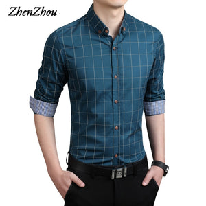 Plaid Shirt Men Long Sleeve Slim Fit White M-5XL 100% Cotton Dress Shirts Male Clothes Social Vintage Summer Casual Shirts Men  MartLion