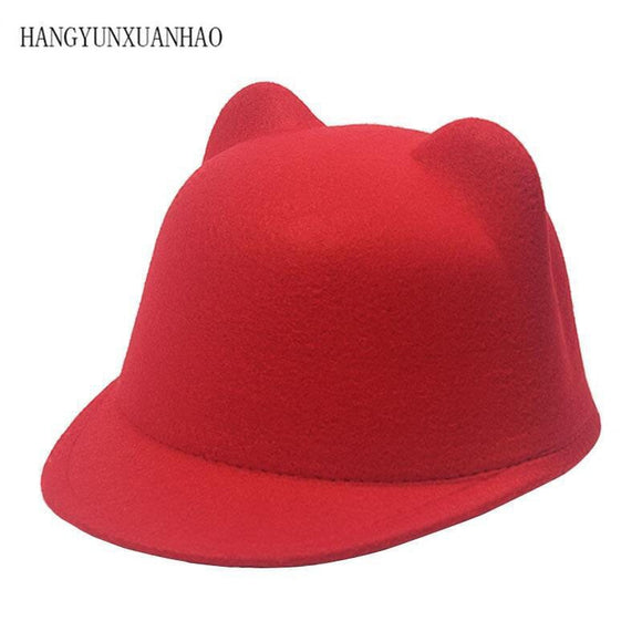 Plain Wool Felt Korean Cat Ears Equestrian Cap Parent-child Cap Flat Brim Horseman Trilby Hat for Men Women Children Boys Girls - Mart Lion  Best shopping website