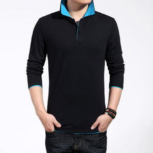Polo shirt men 2019 summer new lapel long sleeve contrast color breathable Polo shirt / male high quality summer stitching Tops  MartLion.com