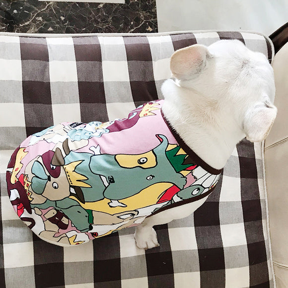 Puppy Doodling French Bulldog Summer Cool Cotton Vest Pet Dog Clothes for Small Medium Dogs Clothing Pug Breathable Costume  MartLion.com