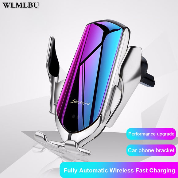 R1 10W Car Wireless Charger Automatic Clamping phone Holder For iPhone Xs Huawei LG Infrared Induction Qi Charger Holder