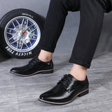 REETENE Leather Italy Pointed Toe Mens Dress Shoes Lace-Up Wedding Party Shoes Men Classic Leather Men'S Suits Shoes Men Oxfords  MartLion
