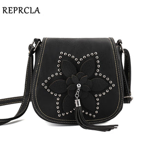 REPRCLA Brand Designer Tassel Women Bags Rivet Flower Crossbody Bags PU Leather Female Messenger Shoulder Bags sac a main  MartLion
