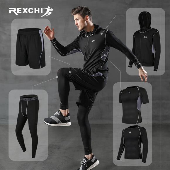 REXCHI 5 Pcs/Set Men's Tracksuit Gym Fitness Compression Sports Suit Clothes Running Jogging Sport Wear Exercise Workout Tights  MartLion.com