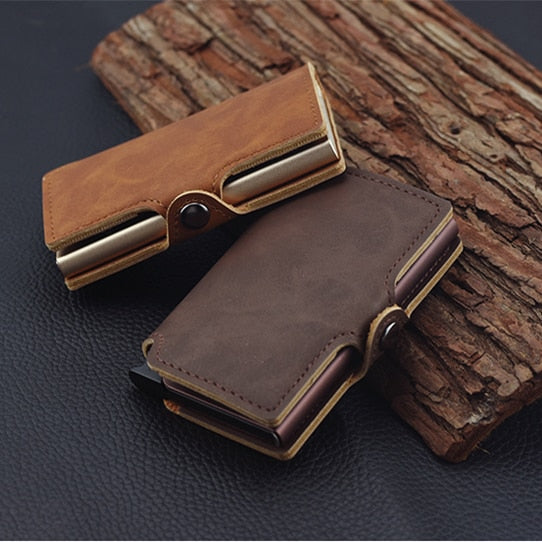 RFID Business Credit Card Holder Men Multifunction Automatic Aluminium Alloy Leather Cards Case Mini Wallet Slim Coin Purse - Mart Lion  Best shopping website