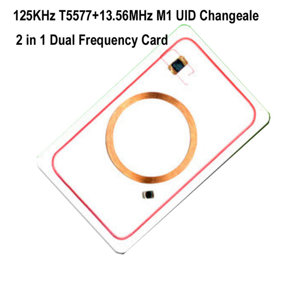 RFID Dual Frequency 125KHz T5577 and 13.56Mhz 1K UID Blank card Readable Writable Rewrite for copy clone backup copier  MartLion