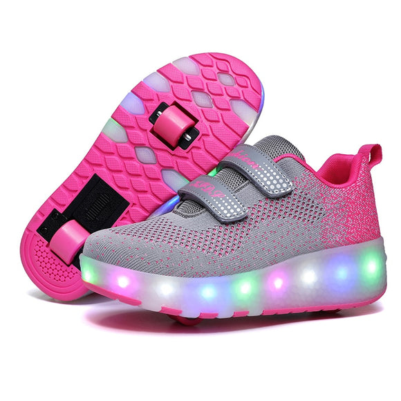 RISRICH Kids LED roller sports shoes glowing luminous light up usb sneakers with wheels kids rollers skate shoes for boy girls