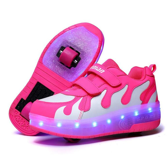 RISRICH Kids LED usb charging roller shoes glowing light up luminous sneakers with wheels kids rollers skate shoes for boy girls
