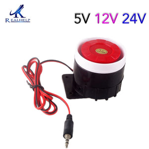 Red&Black Mini Wired 72mm Cable 120dB Loudly Siren Horn for Home Security Sound Alarm System DC12V 24V 5V Protection for Home  MartLion