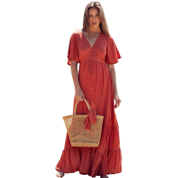 Red Cotton Ruffle Boho Dress Maxi A Line V Neck Beach Dress Women Short Sleeve Patchwork Ladies Long Dress Casual Summer 2019