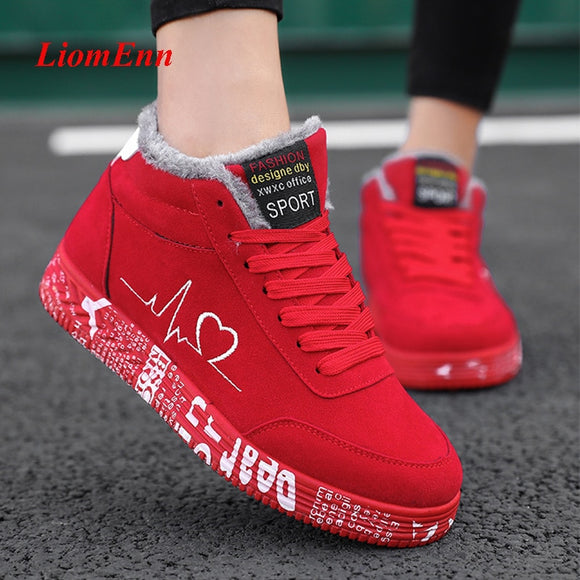 Red Winter Sneakers Women Shoes 2020 Snow Ankle Boots Men Fur Canvas Running Women Casual Sport Shoe basket femme Big Size 35-44