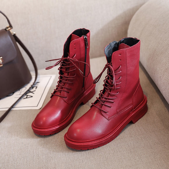 Red Women Ankle Boots 2020 Fashion Round Toe Black Leather Short Boots Gothic Shoes Autumn Women Sexy Lace up White Combat Boots  MartLion