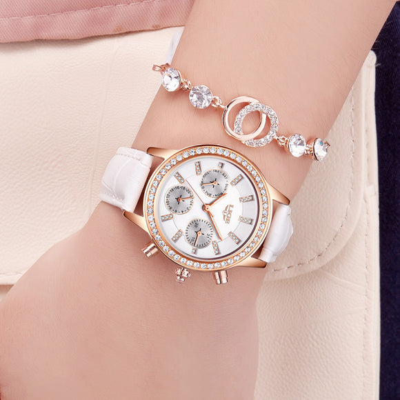Relogio feminino LIGE Woman's waterproof Quartz Watch with 24 Hours Display White Leather Strap Wrist Stopwatches for Ladie  MartLion