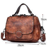 Retro old style Woman Tote Bag PU leather Hand Bags Portable Woman Shoulder Bag Sac A Main luxury handbags women bags designer  MartLion