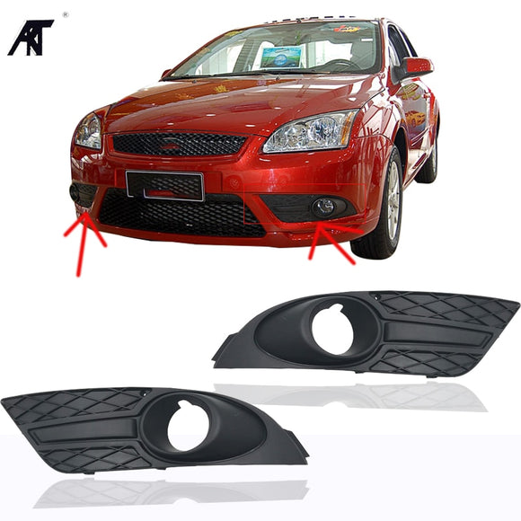 Right & Left Side Bumper Fog Light Lamp Cover Grille Grill   for Ford Focus 2007-2008  without hole or with a hole  MartLion.com