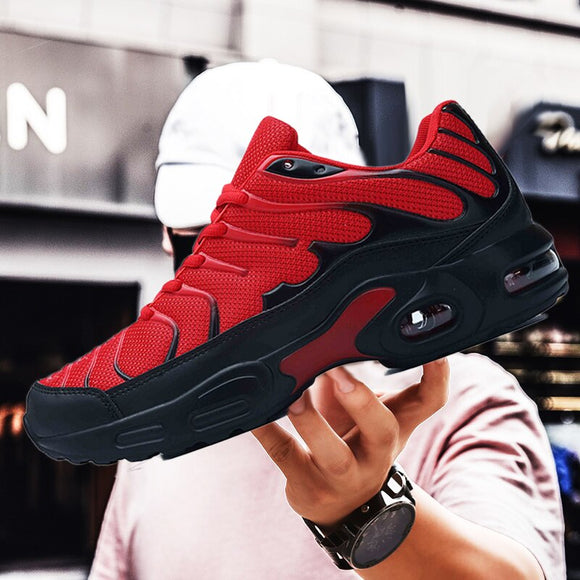 Running shoes men's new air cushion large size sneakers summer outdoor jogging red quality comfortable breathable lightweight