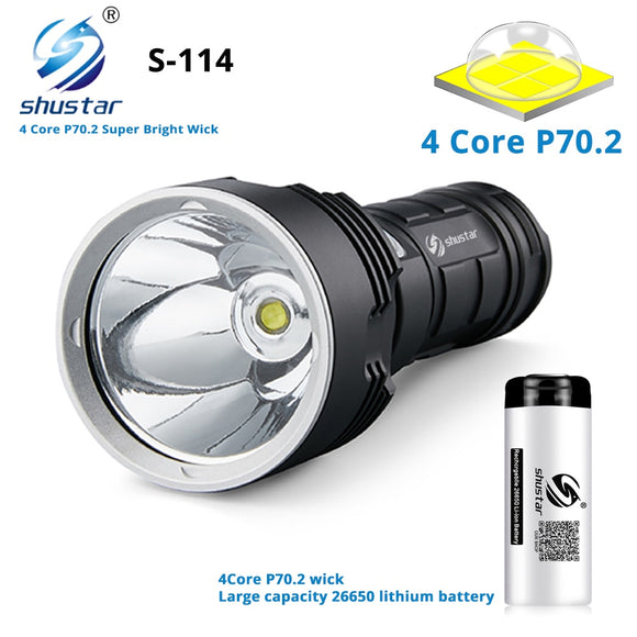 S114 Super bright LED Flashlight 4 core XHP70.2 LED Torch Tactical waterproof camping hunting light Ultra Bright Lantern