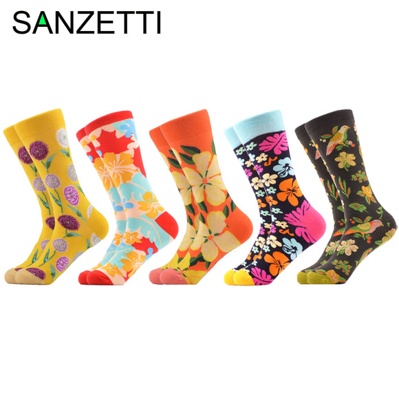 SANZETTI Men's Colorful Happy Socks Combed Cotton Socks Multiple Ideas Astronaut Guitar Elk Pattern Dress Breathable Gift Socks  MartLion