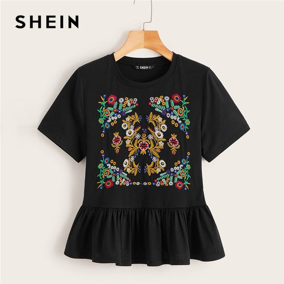 SHEIN Boho Cute Black Botanical Embroidered Flounce Hem Top T Shirt Women Summer Round Neck Short Sleeve 2019 Basics Tshirt Tops  MartLion.com