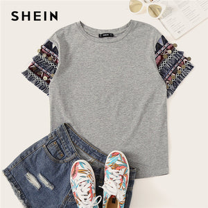 SHEIN Folk Style Fringe Trim Heathered Tee Casual T Shirt Women 2019 Summer Short Sleeve Stretchy Boho Cute Tshirt Tops  MartLion