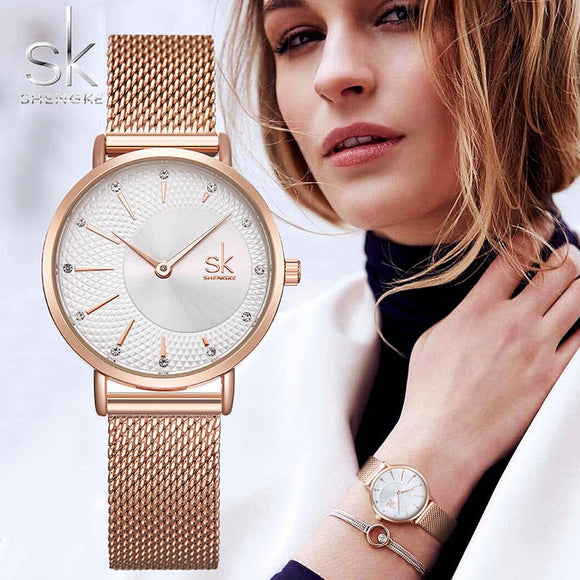 SHENGKE SK Women Watch Top Brand Luxury 2019 Rose Gold Women Bracelet Watch For Ladies Wrist Watch Montre Femme Relogio Feminino  MartLion.com