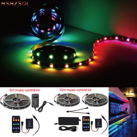 SP106E 9keys Music control LED Strip set Music Sync Dream Color WS2811 RGB SMD5050 Strip Lighting with Remote Power Adapter kit  MartLion