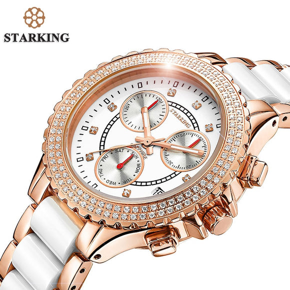 STARKING Luxury Brand Women Watches Rose Gold Bracelets Ladies Stainless Case High Quality Ceramic Watch Quartz Relogio Feminino  MartLion.com