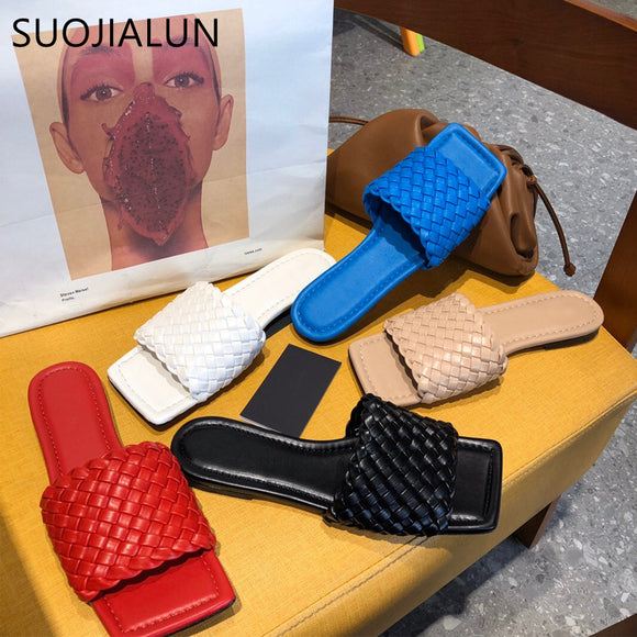 SUOJIALUN 2020 New Brand Design Women Slipper Weave Fabric Women Summer Beach Slides Outdoor Flip Flops Open Toe Flat Slipper  MartLion.com