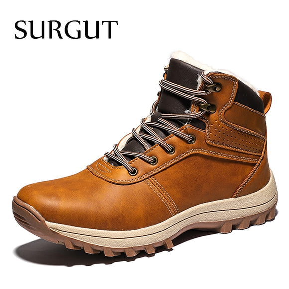 SURGUT Men Boots Genuine Leather Lace-up Men Shoes High Quality Vintage British Snow Boots Autumn Winter Men Casual Ankle Boots  MartLion