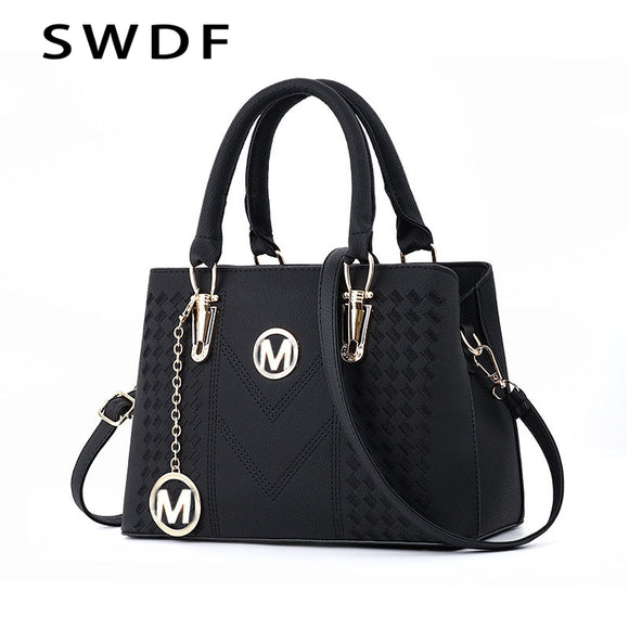 SWDF Pure Color Designer Shoulder Bag In Women's Shoulder Bags Messenger Bags Ladies PU Leather Handbag Purse Female Crossbody  MartLion.com