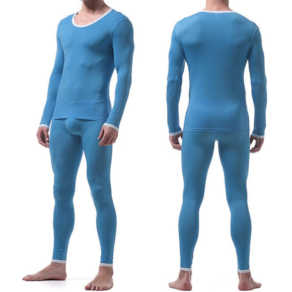 Sexy Male Long Johns Men's Thermal Underwear Sleepwear Ice Silk Lounge Tight Translucent Long Sleeve Undershirt Trousers Set