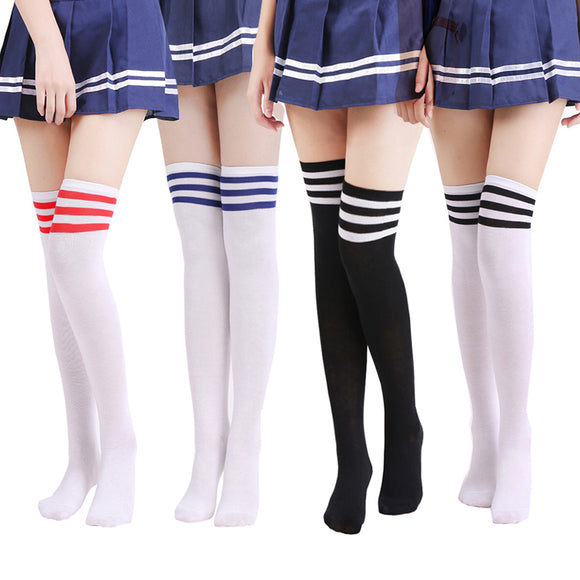 Sexy Medias Striped Long Socks Women Over Knee Thigh High Over The Knee Stockings for Ladies Girls 2019 Warm Knee Socks Summer  MartLion