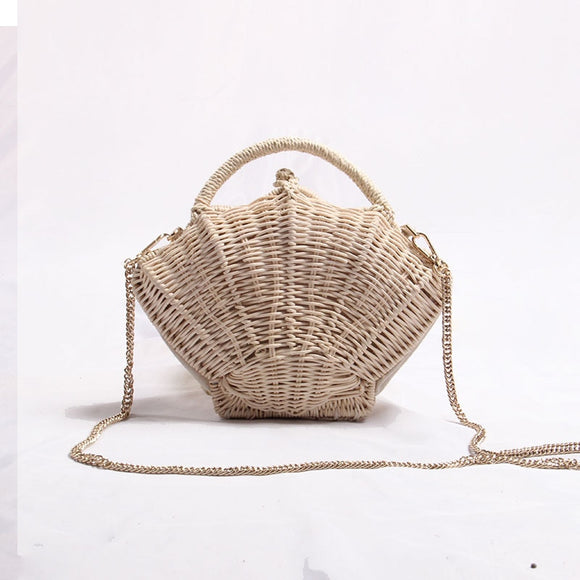 Shell-shaped chain small Messenger Bag rattan woven ins shoulder portable beach vacation Straw bag