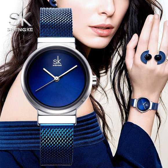 Shengke Luxury Stainless Steel Blue Watch Women Fashion Quartz Watch For Reloj Mujer 2018 SK Ladies Watches Christmas Gift K0083  MartLion.com