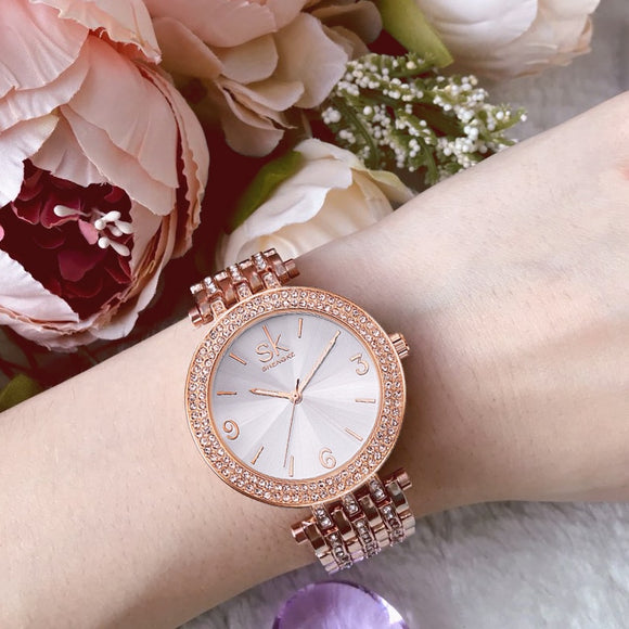 Shengke Rose Gold Watches Women Brand Luxury Crystal Bracelet Watches Reloj Mujer 2019 SK Ladies Quartz Watch Best Gift #K0011  MartLion.com