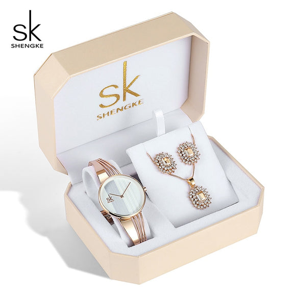 Shengke Rose Gold Watches Women Set Luxury Crystal Earrings Necklace Watches Set 2019 SK Ladies Quartz Watch Gifts For Women  MartLion.com