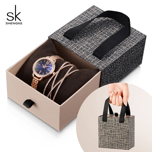 Shengke Rose Gold Women Crystal Set Luxury Quartz Clock Ladies Bracelet Watches Set 2019 New SK Women's Day Gift For Women  MartLion.com