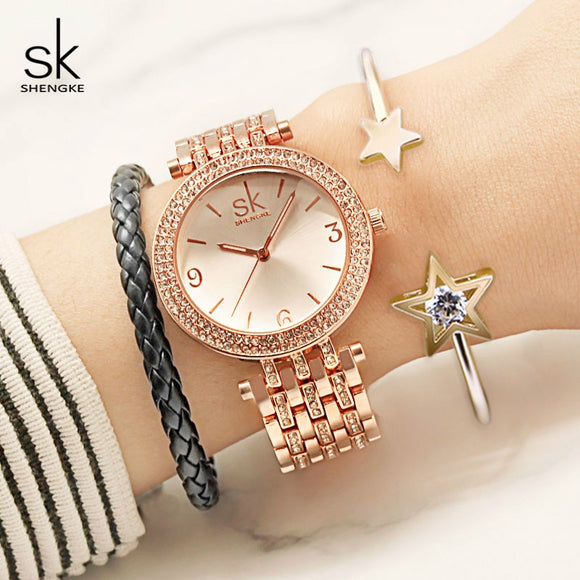 Shengke Watches Women Brand Luxury Quartz Watch Set Ladies Clock Relogio Feminino 2019 Watches with Bracelet Women's Day Gift  MartLion.com