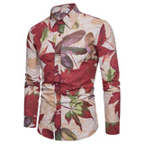 Shirt M-5XL Men's Spring and Summer Long Sleeve Slim Lapel China Holiday Wind National Print Cotton Fashion Boutique Shirt  MartLion