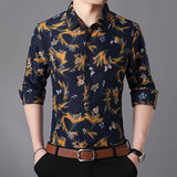 Shirt Men's 2019 Spring and Autumn Floral Long Sleeve Slim Large Size Premium Top / High Quality Plus size Men's Shirt (M-7XL)  MartLion.com
