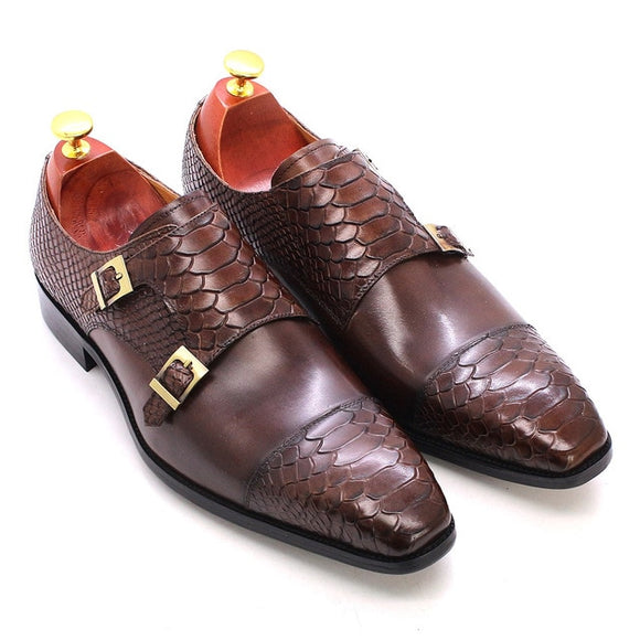 Size 47 Size 13 Mens Dress Shoes Genuine Leather Double Buckle Monk Strap Men Shoes Snake Print Cap Toe Classic Italian Shoes
