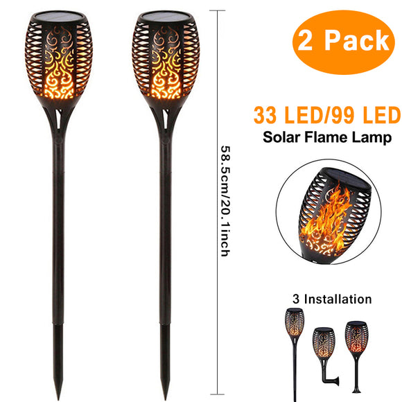 Solar 96LEDs LED Flame Lamp Waterproof Lawn Dancing Flicker Torch Lights Garden Decoration Landscape Path Lighting Spotlight  MartLion