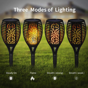 Solar Flame Flickering Garden Lamp Torch Light IP65 Waterproof Outdoor Spotlights Landscape 51/72/96leds Pathway Decor Fire Lamp