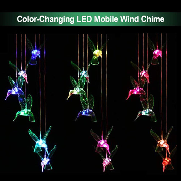 Solar Mobile Wind Chime Pathonor LED Changing Light Waterproof Six Hummingbird Wind Chimes For Home Party Night Outdoor Garden  MartLion