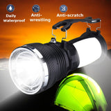 Solar Power USB Rechargeable LED Flashlight Super Bright Camping Tent Light Emergency Lantern Lamp For Hiking Travel  MartLion.com